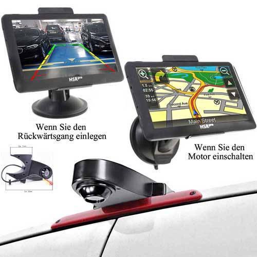 7″ Touchscreen Navigationssystem mit Rückfahrkamera für Transporter und Wohnwagen in Schwarz