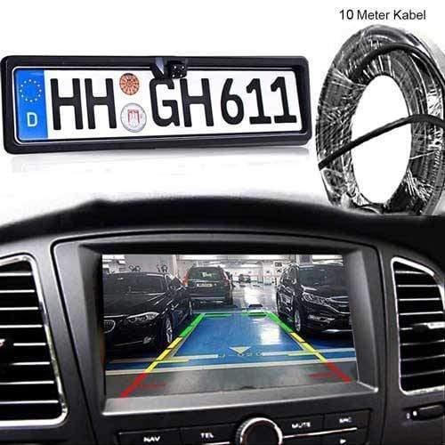 Dynamische Rückfahrkamera im Nummernschild Halter mit 10m Videokabel