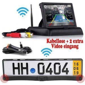 Kabellose Rückfahrkamera mit Parksensoren. Inkl Flip Monitor