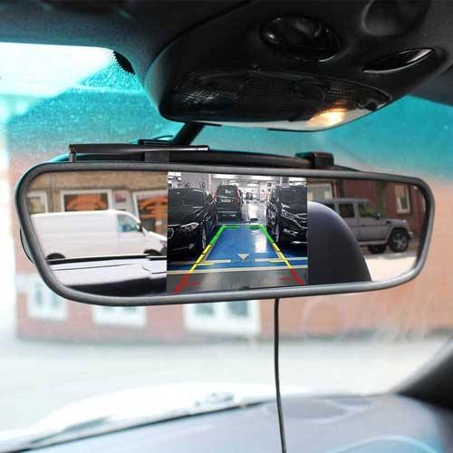 Kabellose Rückfahrkamera mit Parksensoren. Inkl Spiegel Monitor