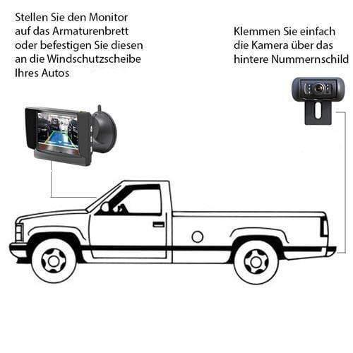 """Klammer Halter Rückfahrkamera mit 4.3"""" Monitor für Vorne oder Hinten"""