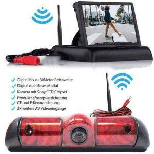 Rückfahrkamera für Fiat Ducato, Peugeot Boxer & Citroen Jumper. Digitale Kabellos & Flip Monitor mit Sony CCD Chipset