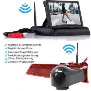 Rückfahrkamera für Ford Transit Custom. Digitale Kabellos & Flip Monitor mit Sony CCD Chipset
