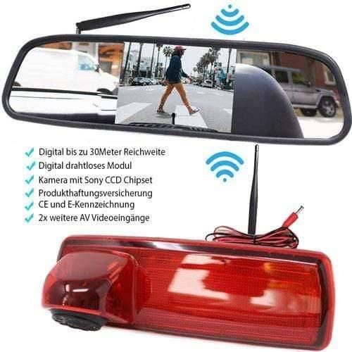 Rückfahrkamera für Opel Vivaro und Renault Trafic. Digital Kabellose mit Sony CCD Chipset. Spiegel Monitor