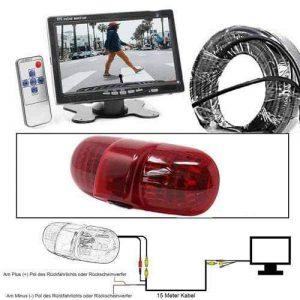 "Rückfahrkamera für Renault Trafic, Opel Vivaro und Opel Combo im 3. Bremslicht mit Sony CCD Chipset inkl. 7"" Monitor"