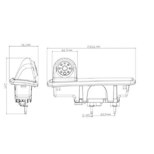 """Rückfahrkamera für Renault Trafic und Opel Vivaro im 3. Bremslicht mit Sony CCD Chipset inkl. 7"""" Monitor"""