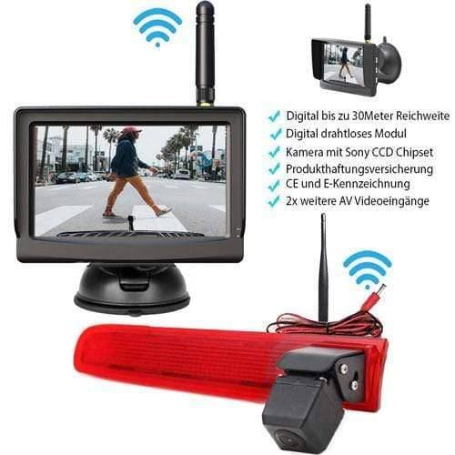 """Rückfahrkamera für VW T5 und VW T6. Digitale Kabellos & 5"""" Monitor mit Sony CCD Chipset"""