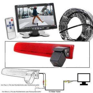 """Rückfahrkamera für VW T5 und VW T6. Im 3. Bremslicht 7"""" Monitor mit Sony CCD Chipset"""