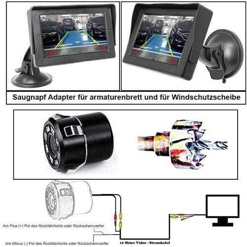 Rückfahrkamera mit 4,3 zoll Monitor und 10 Meter Videokable - Bis zu 5 Jahre Garantie