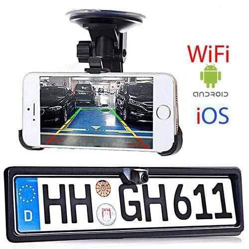 Wifi Rückfahrkamera im Nummernschild für Auto, Transporter, Kleinbus & Wohnwagen für Android und IOS Handy & Tablet
